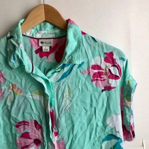 Mint Green Pink Floral Short Sleeve Button Down